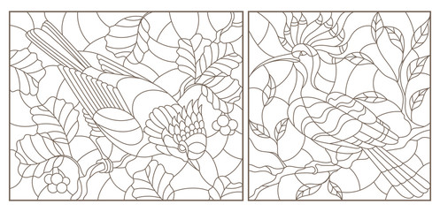 Set of contour  illustrations of stained-glass windows with birds against branches of a tree and leaves , dark contours on a white backgroun