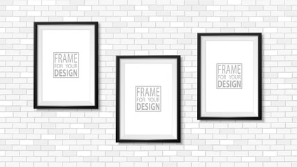 Frame on the wall. Photoframe mockup. Simple empty framing for your business design. Brick wall. Vector template for picture, painting, poster, lettering or photo gallery.