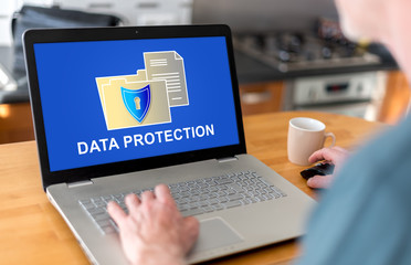 Data protection concept on a laptop