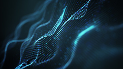 Wavy shape of blue glowing dots abstract 3D illustration
