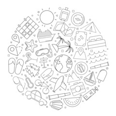 Travel circle background from line icon. Linear vector pattern. Vector illustration
