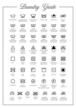 Laundry Guide vector icons, symbols collection