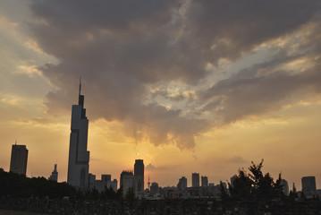 Autocollant pour porte Cracovie Nanjing Cityscape during Sunset