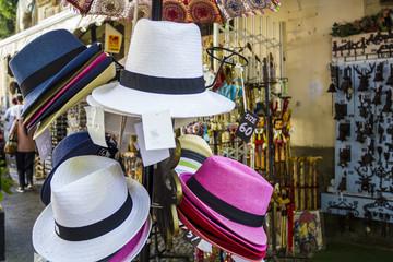 Hats for sale in souvenir shop