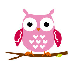 Pink Owl Sitting on a Branch. Cartoon Character Isolated on White Vector Illustration  You are my Valentine. Love in the air, Saint Valentine, postcard
