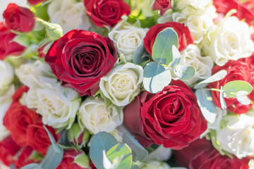 Wedding bouquet with red rose ,  as a background
