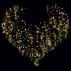 Golden serpentine and confetti on a black background Brilliant design of wallpaper, background, cover, printing, packaging