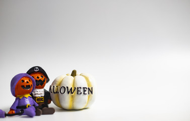 Halloween holiday pumpkins and others on white background