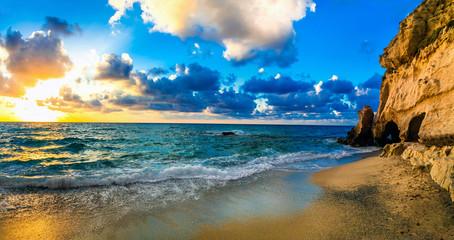 Wall Mural - Beautiful sea sunset. Beach of Tropea , Calabria, Italy