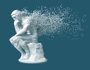Desintegration Of Sculpture Thinker On Blue Background