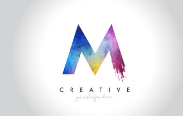 M Paintbrush Letter Design with Watercolor Brush Stroke and Modern Vibrant Colors