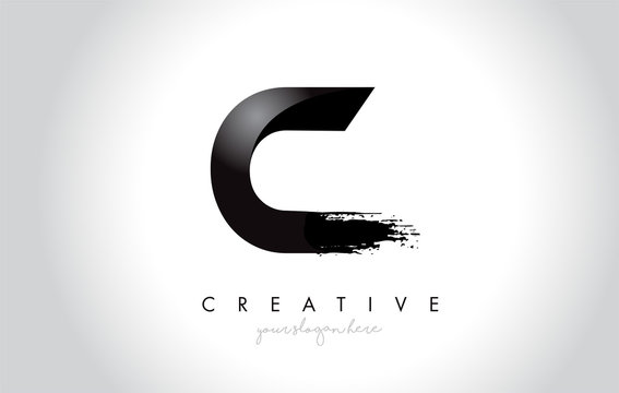 C Letter Design with Brush Stroke and Modern 3D Look.