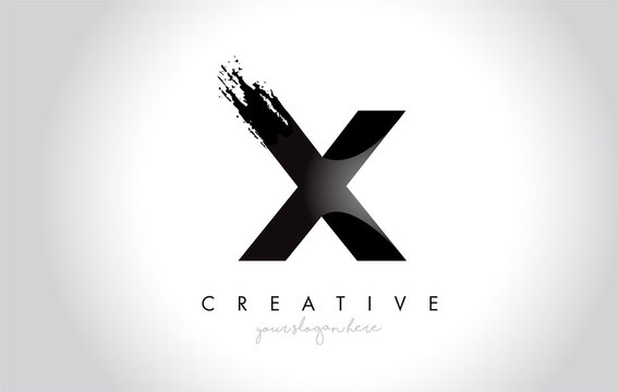 X Letter Design with Brush Stroke and Modern 3D Look.