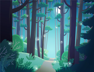 Cartoon forest at night lightened by the moon and the fireflies. Background vector illustration.