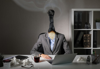 Conceptual photo illustrating burnout syndrome at work Wall mural