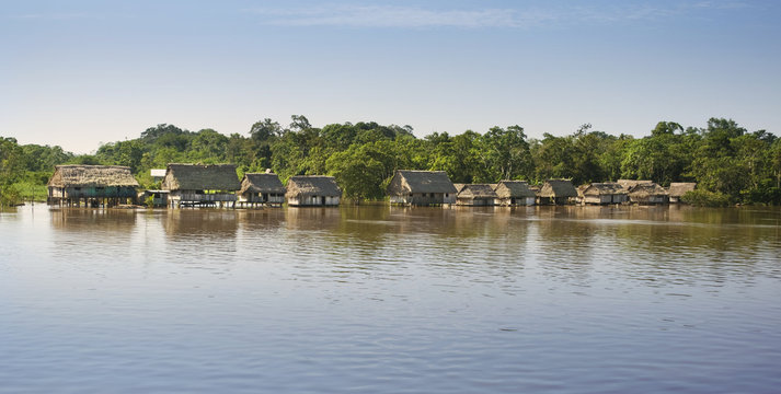 Amazonas landscape. Typical indian tribes settlement in Amazon.