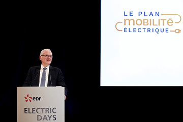 French state-controlled utility EDF CEO Jean-Bernard Levy attends a news conference during an event entitled Electric Days in Paris