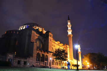 View of the majestic  Suleymaniye Mosque, Istanbul. Turkey. Night view