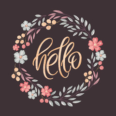 Hello lettering in floral frame