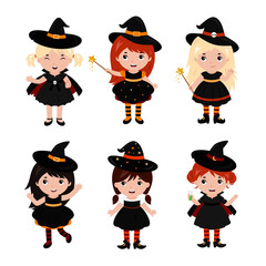 Adorable little witch characters in different poses. Halloween costume. Vector.