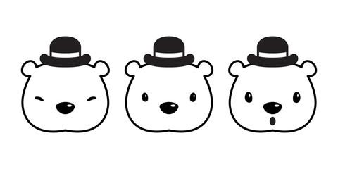 Bear vector Polar Bear icon logo hat cap cartoon character illustration doodle
