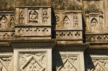 Figures on the wall of the temple. Chhatarpur District. Madhya Pradesh.