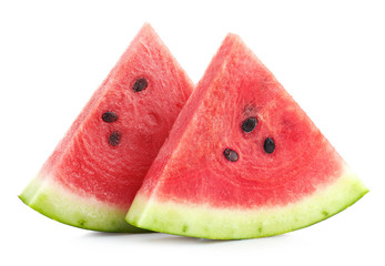 Two slices of ripe watermelon