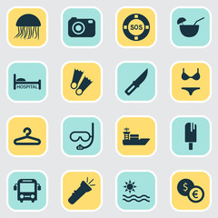 Tourism icons set with lifebuoy, jellyfish, ship and other sharp  elements. Isolated vector illustration tourism icons.