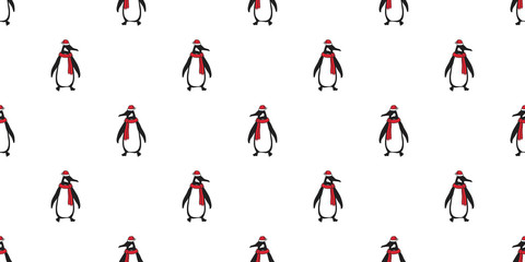 penguin Seamless pattern vector Christmas Santa Claus Hat Xmas bear polar salmon cartoon scarf isolated tile background illustration wallpaper