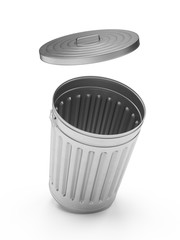 3D Rendering steel trash can isolated on white background