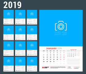 Wall calendar template for 2019 year. Week starts on Monday. Vector illustration