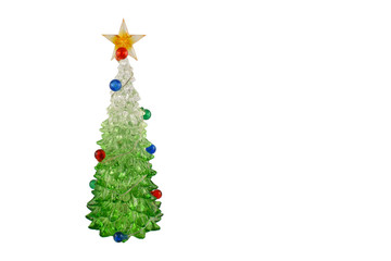 Christmas tree decoration stock images. Christmas decoration isolated on a white background. Christmas tree with a star. Glass christmas tree