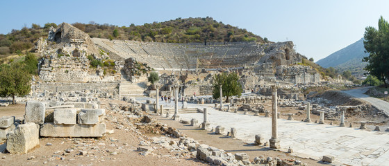 Photo sur Toile Turquie Panorama of Ephesus with its Amphitheatre - Turkey