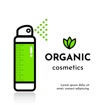 Vector flat illustration card with icon deodorant spray (antiperspirant). Text: Organic cosmetics.  Logo with 3 green leaf.