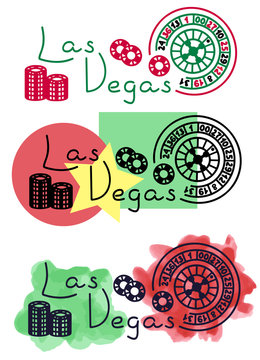 Las Vegas roulette and chips sketch with watercolor and felt-tip pen grunge vector illustration