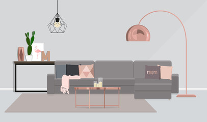 Interior design of the room in gray with rose-gold.