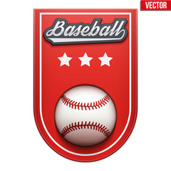 Baseball Badge and Label with ball and space for text. Emblem of sport team and event. Vector illustration isolated on background.