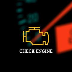 Check engine light on defocused dashboard background. Vector illustration