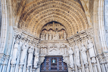 Portuguese Camino, Tui, Portal of the Cathedral of the Blessed Virgin Mary in Tui, starting point for many pilgrims, The St. James Way