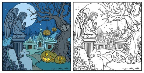Halloween background cemetery and crypts with pumpkins on old tree color and outlined for coloring page
