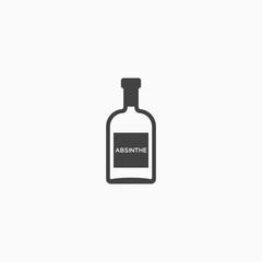 Bottle of absinthe monochrome icon. Vector illustration.