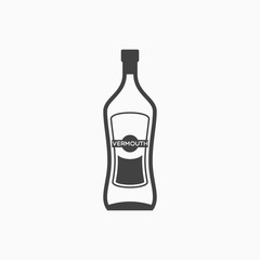 Bottle of vermouth monochrome icon. Vector illustration.