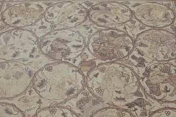 Ancient Roman floor mosaic in the Saint Stevens Church an archeological site in Umm ar-Rasas, Jordan. UNESCO World heritage site