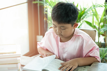 Asians boy read book at home. education concept.