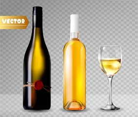 Bottle of wine and wineglass. 3d realism, vector icon with transparency.