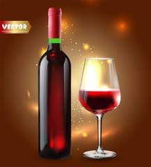 Bottle of wine and wineglass. Red splash. 3d realism, vector icon.