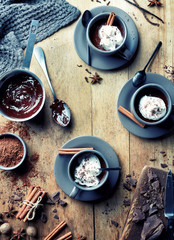 Cup of hot chocolate drink with whipped cream and cinnamon