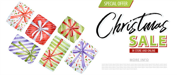 Christmas sale watercolor discount. Gift box, ball illustration coupon.