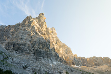 At sunset time the majestic Sorapiss peak in the italian Alps range, in particoular in the Dolomites. It is one of the highest in this group of mountains around 3000mt on the sea level