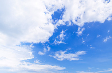 Skyscape blue summer sky with white clouds in tropical Thailand
